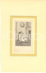 1800 ca VINTAGE EROTIC Woman upskirt reading - Engraving 18x28 cm
