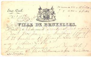 1839 VILLE DE BRUXELLES Certificat de mariage Rémi GROS-JEAN Marie MOONENS