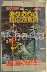 1963 Walt Disney 20000 LEGUAS DE VIAJE SUBMARINO *Manifesto 104x68 DANNEGGIATO