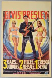 1967 ELVIS PRESLEY - 1 gars, 2 filles, 1 trésor EASY COME, EASY GO Manifesto