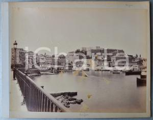 1900 ca GREECE CORFU Island - Harbour - Albumen old photo 30x24 cm