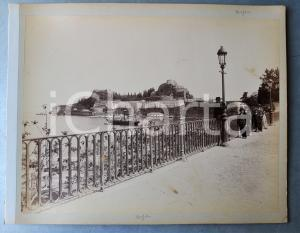 1900 ca GREECE CORFU Island - View with children - Albumen old photo 30x24 cm