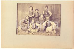 1900 ca GREECE CORFU Island - Children - Albumen photo 24x16 cm ETHNIC TYPES