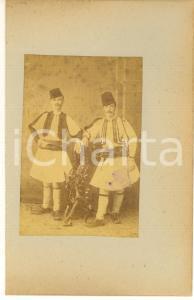 1900 ca GREECE CORFU Island - Two men - Albumen photo 15x23 ETHNIC TYPES