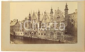 1900 ca BRUGES (BELGIUM) Quai - Photo originale albumine 23x15 cm