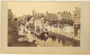 1900 ca BRUGES (BELGIUM) Quai Vert - Photo 23x15 cm ANIMEE bateaux