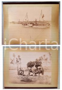 1880 ca EGYPTE - Adelphoi ZANGAKI - Bateau RAMSES - Piquage du blé *2 photos
