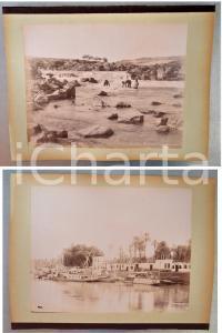 1880 ca EGYPTE - Adelphoi ZANGAKI - ASSOUAN - 2 photos ANIMEES
