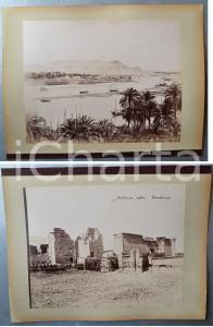 1880 ca EGYPTE - Adelphoi ZANGAKI - ASSOUAN / Temple MEDINET ABOU - 2 photos