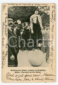 1904 LONDON - BRIGHTON Walking the globe - M.lle Florence on the globe POSTCARD