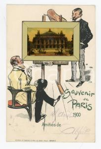 1900 Souvenir de PARIS - Opéra GARNIER - Carte postale ILLUSTREE avec insertion