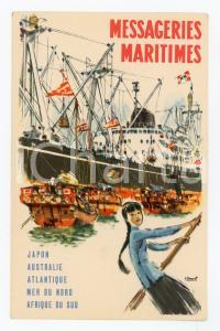 1920 ca MESSAGERIES MARITIMES Japon - Illustration by Albert BRENET Postcard FP