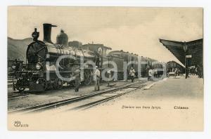 1910 ca CHIASSO (CANTON TICINO) Stazione con treno lampo *Cartolina ANIMATA RARA