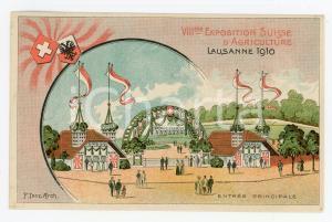 1910 LAUSANNE VIIIème Expo SUISSE Agriculture - Entrée principale *Carte postale