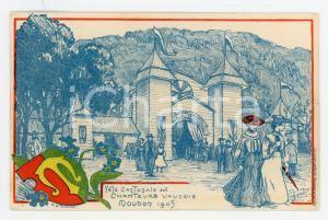 1905 MOUDON SUISSE Fête cantonale chanteurs vaudois - Carte postale ill. TURRIAN