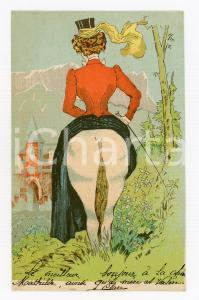1900 ca VINTAGE EROTIC Lady riding a horse - Illusion d'optique - Postkarte FP