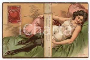 1904 VINTAGE EROTIC Woman in lingerie and stockings Illustration HENRY Postcard