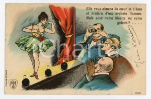 1904 VINTAGE EROTIC Dancer teases the audience ILLUSTRATED Postcard FP VG