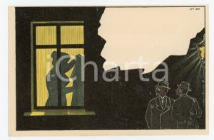 1900ca VINTAGE EROTIC Two voyeurs spy on naked woman at the window - Postcard