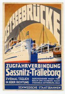 1936 SCHWEDISCHE STAATSBAHNEN Ostseebrucke Sassnitz - Tralleborg - Postcard FP