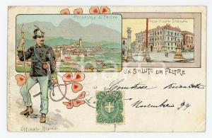 1900 ca FELTRE (BL) Ufficiale Alpino e Piazza Vittorio Emanuele - Cartolina FP