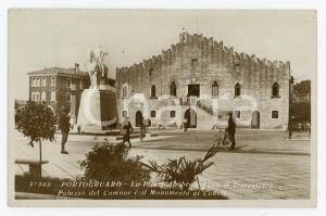 1920 ca PORTOGRUARO Piazza Umberto I e Palazzo del Comune - Cartolina ANIMATA FP