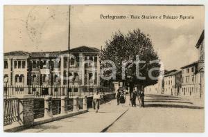 1924 PORTOGRUARO Viale stazione e Palazzo Agraria - Cartolina ANIMATA FP VG