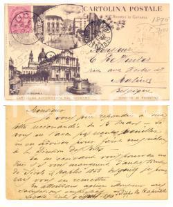 1890 CATANIA Cattedrale / Via Etnea *Cartolina autografo Filippo RE CAPRIATA