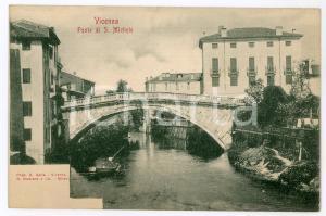 1900ca VICENZA Ponte di San Michele con barcaiolo - Cartolina FP nv