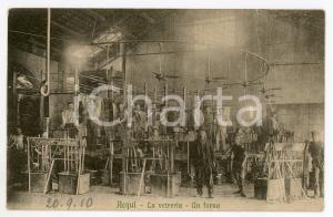 1910 ACQUI TERME La vetreria - Un forno *Cartolina ANIMATA operai RARA FP VG