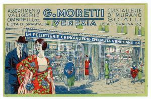 1920 ca VENEZIA Pelletterie G. MORETTI Cartoncino pubblicitario 14x9 cm