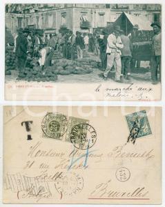 1903 NAPOLI Mercato di melloni - Cartolina ANIMATA FP VG
