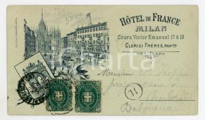 1891 MILANO Corso Vittorio Emanuele - Hotel de France *Cartolina ILLUSTRATA RARA