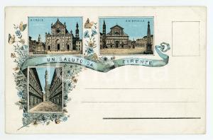 1890ca FIRENZE Santa Maria Novella - Uffizi - Basilica Santa Croce - Cartolina