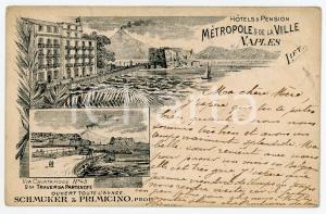 1898 NAPOLI Hotel Metropole - Pensione de la Ville - Via Chiatamone - Cartolina