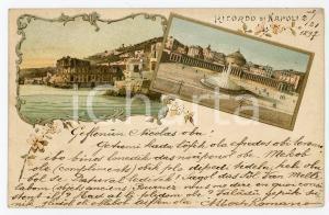 1897 NAPOLI Vedutine con Piazza del Plebiscito - Cartolina FP VG