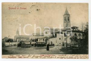 1908 BADIA A RIPOLI (FI) Abbazia di San Bartolomeo e tram - Cartolina FP VG