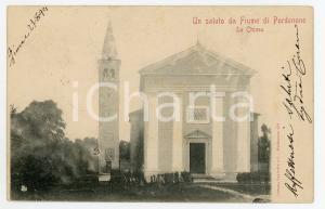 1901 FIUME VENETO (PN) Chiesa di San Nicolò - Panorama - Cartolina FP VG