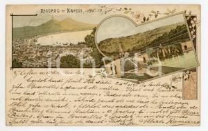 1896 NAPOLI Vedutine della città - Cartolina FP VG