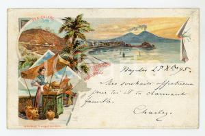 1895 NAPOLI Funicolare e venditrice d'acque minerali - Cartolina ILLUSTRATA FP
