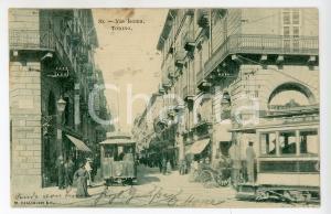 1905 TORINO Via Roma - Tram per Corso Vinzaglio - Cartolina ANIMATA FP VG