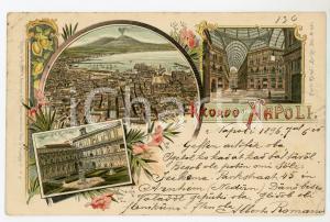 1896 NAPOLI Vedutine con Certosa di San Martino - Galleria Umberto I - Cartolina