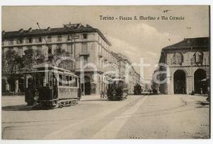 1920 TORINO Tram in Piazza San Martino - Via Cernaia - Cartolina ANIMATA FP VG