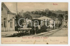 1904 TORINO Funicolare di SUPERGA Stazione Sassi - Cartolina ANIMATA FP VG
