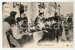 1920 ca NAPOLI Lavoratrici di reti - Cartolina ANIMATA FP NV