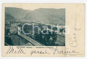 1900 ca VITTORIO VENETO (TV) Panorama e ferrovia - Cartolina FP VG