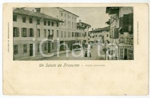 1902 TRICESIMO (UD) Piazza Maggiore - Cartolina ANIMATA FP VG