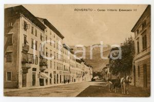 1924 ROVERETO (TN) Carrozza in Corso Vittorio Emanuele II - Cartolina ANIMATA FP