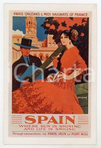1930ca PARIS ORLEANS - MIDI RAILWAYS Spain - Ill. René ROUSSEL Carte Postale