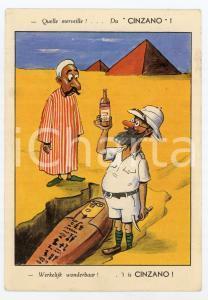 1950 FRANCE Égyptologue trouve une bouteille de CINZANO Carte postale ILLUSTRÉE